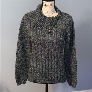 DRESSBARN L multicolor sweater side button collar